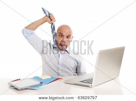 Bald Latin Businessman Choking Himself While Getting Overworked