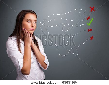 Beautiful young woman choosing between right and wrong signs