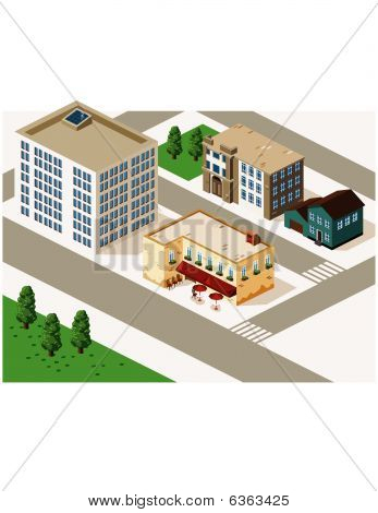Old Cafe And Building Isometric