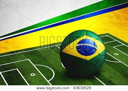 Soccer Ball With Brazil Flag On Pitch