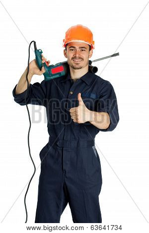 young worker standing with drill isolated on white background