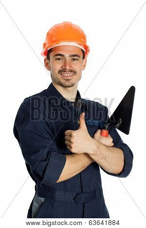 young worker standing with trowel isolated on white background