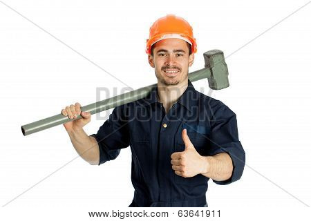 young worker standing with hammer isolated on white background
