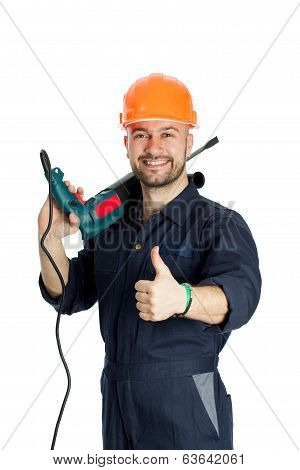 builder with drill isolated on white background
