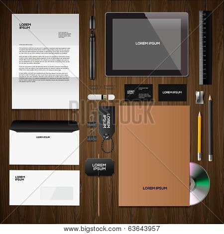 Corporate identity mock-up classic style, wooden background