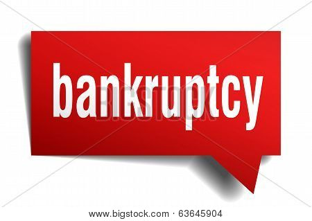 Bankruptcy Red 3D Realistic Paper Speech Bubble Isolated On White