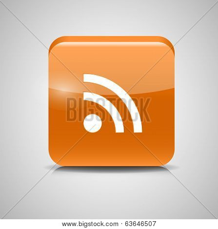 Glass Rss Button Icon. Vector Illustration