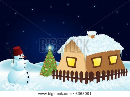 Snowmen Christmas Tree And Snowy House