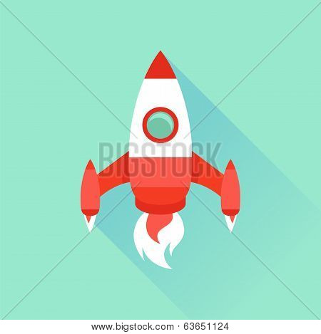 Vector Icon In Flat Style - Start Up And Launch