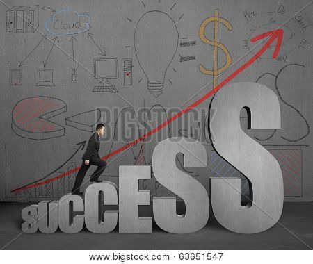 Businessman Walking On Success Stairs With Business Doodles On Wall