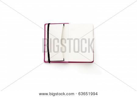Blank Open Diary With Open Side Pocket, Isolated On White