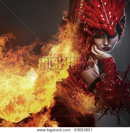 Girl on fire, Steampunk, beautiful woman dressed in red armor dragon scales