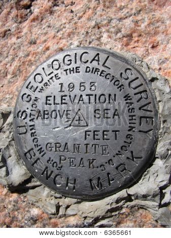 Granite Peak Summit Bench Mark