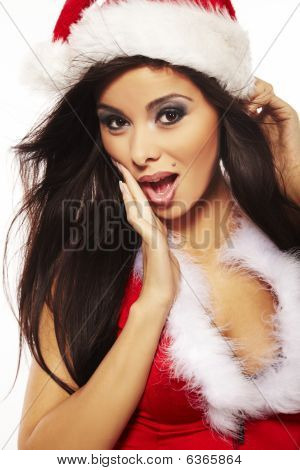 Portrait Of Beautiful Brunette Woman Wearing Sexy Santa Claus Cl