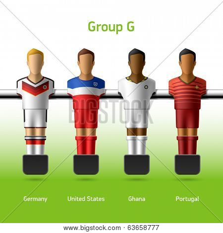 Table football / foosball players. Group G - Germany, United States, Ghana, Portugal. Vector.