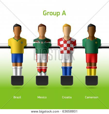 Table football / foosball players. Group A - Brazil, Mexico, Croatia, Cameroon. Vector.
