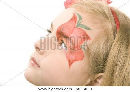 Little Girl With Paynted Flower