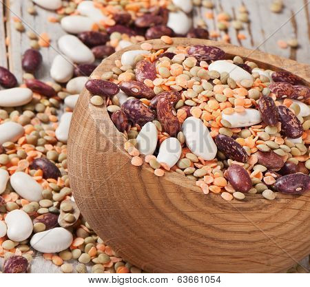 Bowl With Haricot Bean And Dried Lentils