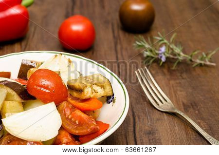 Roasted Tomatoes, Eggplants And Onions