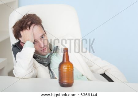 Guy Suffers From Hangover - Beer Has Come To An End