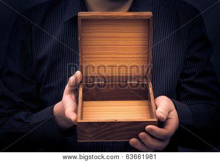 Empty Casket Hands Man