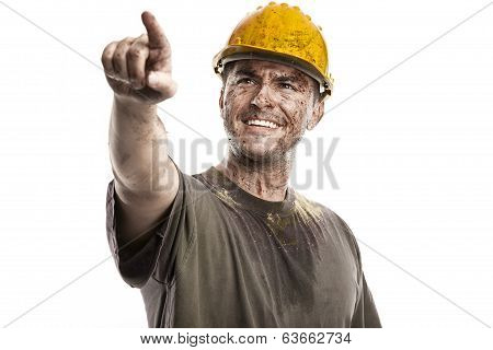 Pointing Young Dirty Worker Man With Hard Hat Helmet