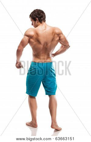 Strong Athletic Man Fitness Model Torso Showing Big Back Muscles Isolated On White Background