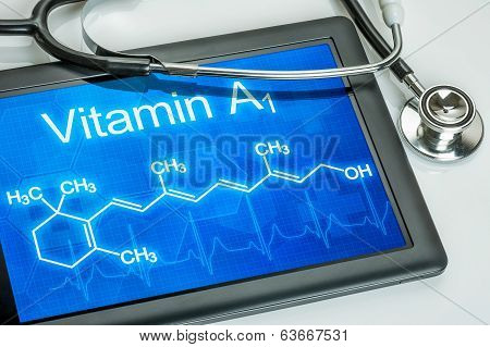 Tablet with the chemical formula of vitamin a