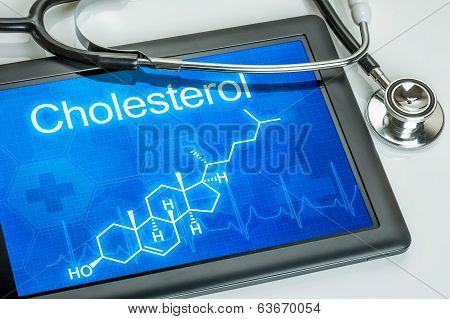Tablet with the chemical formula of cholesterol