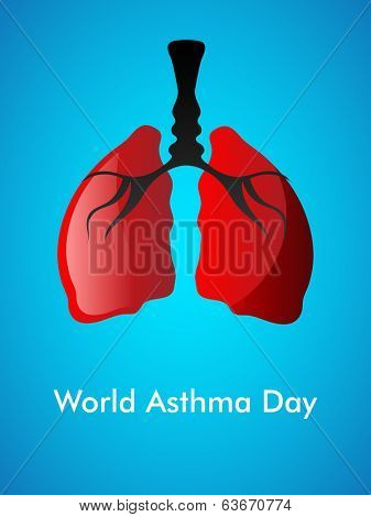World Asthma Day concept with healthy human lungs on blue background.