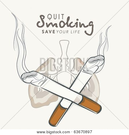 No Smoking concept with lungs and cigarette, World Asthma Day background with stylish text Stop Smoking, Save your life.