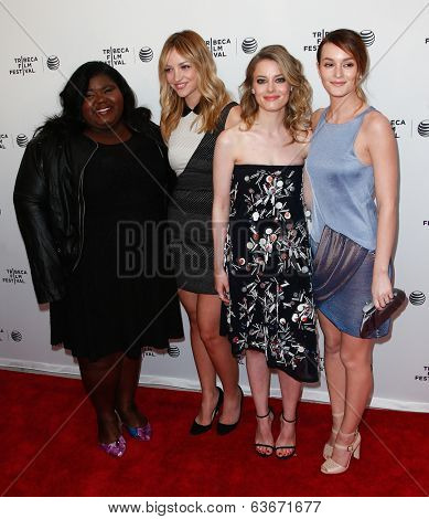 NEW YORK-APR 18: (L-R) Actors Gabourey Sidibe, Abby Elliot, Gillian Jacobs & Leighton Meester attend the