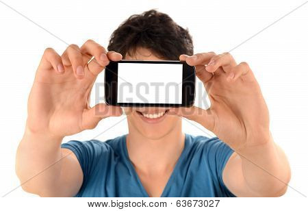 Unrecognizable man taking a selfie photo with his smart phone.