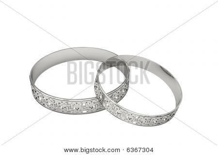 Silver Or Platinum Wedding Rings With Magic Tracery