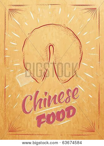 Poster Chinese food fortune cookies kraft