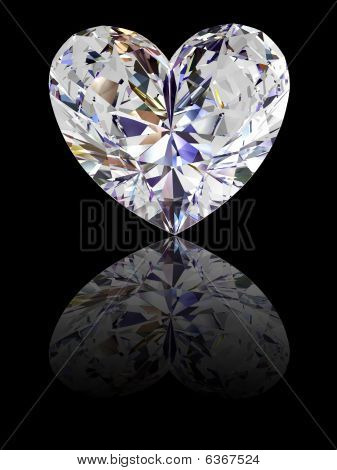 Heart Shape Diamond On Glossy Black Background