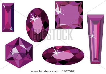Different cut amethyst