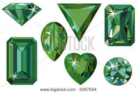 Different cut emeralds