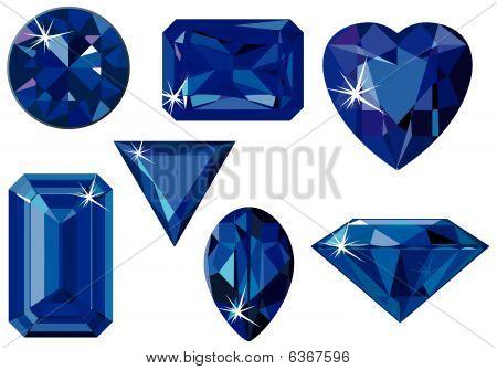 Different cut sapphires
