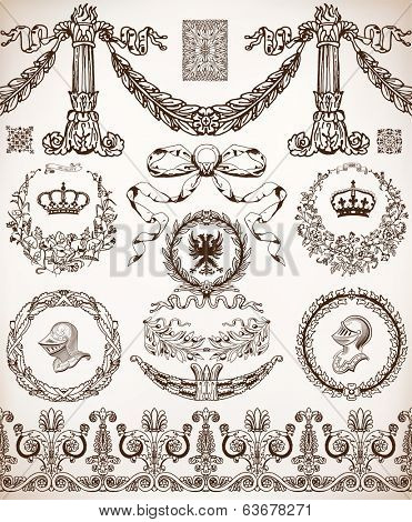 Vector. Set of retro elements: baroque frames, banners, retro labels, classic column