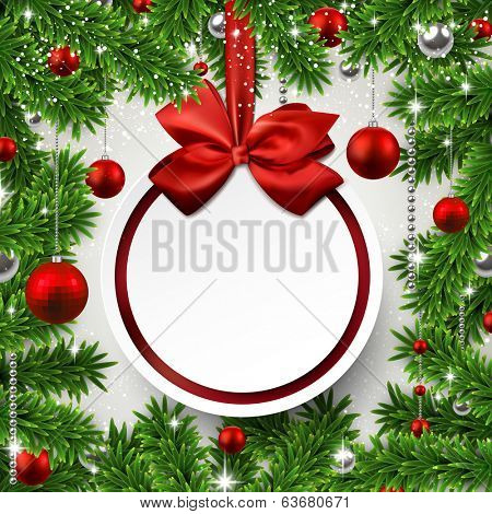 Christmas frame background with fir twigs and red balls. Round paper label on gift bow. Vector illustration.