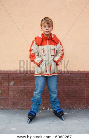 Boy Standing On Roller Skates
