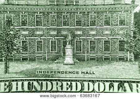 Independence hall on 100 dollar bill