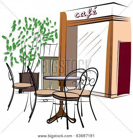 Hand Drawn Paris Cafe