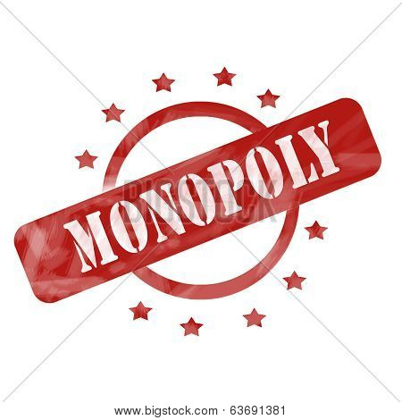 Monopoly Red Weathered  Stamp Circle And Stars Design
