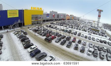 SAMARA, RUSSIA - JAN 05, 2014 : Aerial view to car parking near family store IKEA in Samara with.
