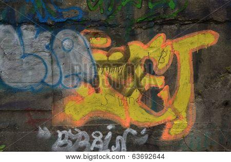 KIEV, UKRAINE -APR 21, 2014: Graffiti in the old tunnel of Stalin. Part of Kiev defense line in WW2 time. . April 21, 2014 Kiev, Ukraine