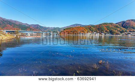 Still water at Lake Kawaguchiko in Autumn