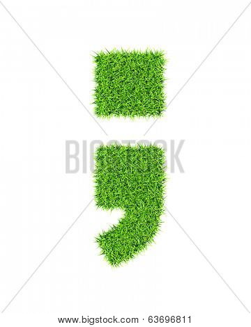 Grass alphabet semicolon period comma - ecology eco friendly concept character type