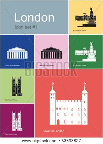 Landmarks of London. Set of flat color icons in Metro style. Editable vector illustration.